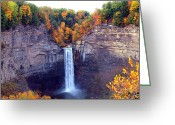Yellow Trees Greeting Cards - Taughannock waterfalls in autumn Greeting Card by Mingqi Ge