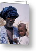 Senegal Greeting Cards - Taureg Father and Son in Senegal Greeting Card by Carl Purcell