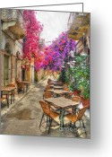 Puddle Photo Greeting Cards - Tavern in Bloom Greeting Card by Michael Garyet