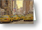 Stars Painting Greeting Cards - taxi a New York Greeting Card by Guido Borelli