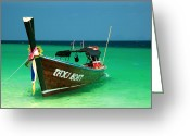Sea Flowers Greeting Cards - Taxi Boat Greeting Card by Adrian Evans