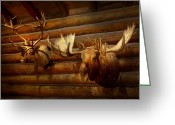 Stuffed Animals Greeting Cards - Taxidermy - The hunting lodge  Greeting Card by Mike Savad
