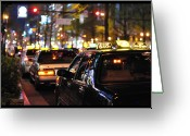 Public Transportation Greeting Cards - Taxis On Street At Night Greeting Card by Thank you for choosing my work.