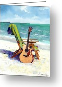 Guitar Greeting Cards - Taylor at the Beach Greeting Card by Andrew King
