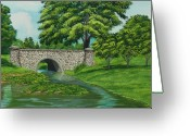 Ceremony Greeting Cards - Taylor Lake Stone Bridge Greeting Card by Charlotte Blanchard