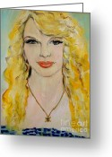Singer Songwriter Greeting Cards - Taylor Swift Greeting Card by Amanda Dinan