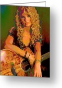 Dark Blue Chin Greeting Cards - Taylor Swift Greeting Card by Byron Fli Walker