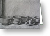 Coffee Drawings Greeting Cards - Tazze Italiane Greeting Card by RX Bertoldi