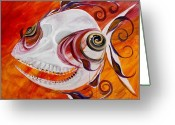 Bright Greeting Cards - T.B. Chupacabra Fish Greeting Card by J Vincent Scarpace