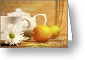 Teacup Greeting Cards - Tea and lemon Greeting Card by Sandra Cunningham
