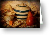 Brunch Greeting Cards - Tea and pear Greeting Card by Toni Hopper