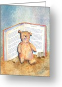 Stuffed Animals Greeting Cards - Tea Bag Teddy Greeting Card by Arline Wagner