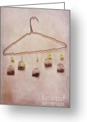 Hang Greeting Cards - Tea Bags Greeting Card by Priska Wettstein