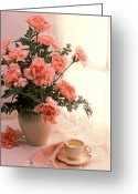 Teacup Greeting Cards - Tea cup with pink carnations Greeting Card by Garry Gay