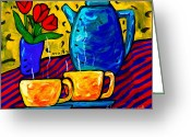 Teapot Greeting Cards - Tea for Two Greeting Card by Dale Moses