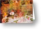Flowery Greeting Cards - Tea for Two Romantic Greeting Card by Susanne Van Hulst