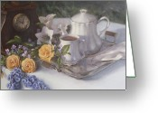 Linen Greeting Cards - Tea in the Garden Greeting Card by Diane Reeves