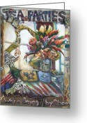 Tea Party Mixed Media Greeting Cards - Tea Parties Greeting Card by Lee Anne Stieglitz