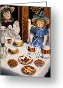 Tea Party Greeting Cards - Tea party Greeting Card by Carol VonBurnum