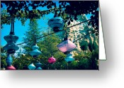 Mad Hatter Photo Greeting Cards - Tea Party Lanterns Greeting Card by Jessica Fredrikson