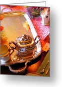 Tea Party Greeting Cards - Tea Party Greeting Card by Leslie Cooper