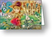 Tea Party Mixed Media Greeting Cards - Tea Party Greeting Card by Svetlana and Sabir Gadghievs
