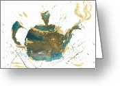 Teapot Greeting Cards - Tea Partying Greeting Card by Janet Whitehead