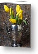 Silver Pitcher Greeting Cards - Tea Pot and Tulips Greeting Card by Garry Gay