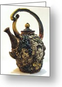 Earthenware Ceramics Greeting Cards - Tea Pot Greeting Card by Kathleen Raven