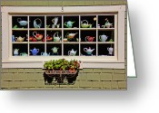 Spout Photo Greeting Cards - Tea pots in window Greeting Card by Garry Gay