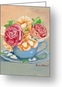 Fine Art - Still Lifes Greeting Cards - Tea Roses Greeting Card by Enzie Shahmiri