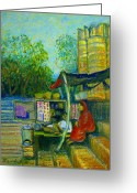 Tea Pastels Greeting Cards - Tea Stall at Assi Ghat in Varanasi Greeting Card by Art Nomad Sandra  Hansen