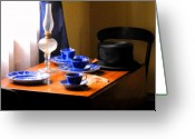 Oil Lamp Greeting Cards - Tea Time Composition Greeting Card by Ian  MacDonald