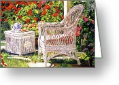 Wicker Chairs Greeting Cards - Tea Time Greeting Card by David Lloyd Glover