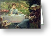 Fresco Greeting Cards - Tea Time Greeting Card by Jacques Jourdan