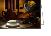 Parlor Greeting Cards - Tea Time Greeting Card by Olivier Le Queinec