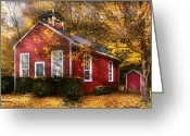 Colonial Scene Greeting Cards - Teacher - School Days Greeting Card by Mike Savad