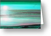 Originals Greeting Cards - Teal Panoramic Sunset Greeting Card by Gina De Gorna