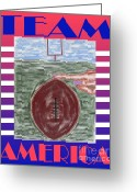 Sports Greeting Cards Greeting Cards - Team America Greeting Card by Patrick J Murphy