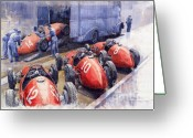Sport Painting Greeting Cards - Team Ferrari 500 F2 1952 French GP Greeting Card by Yuriy  Shevchuk