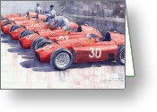 Sport Painting Greeting Cards - Team Lancia Ferrari D50 type C 1956 Italian GP Greeting Card by Yuriy  Shevchuk