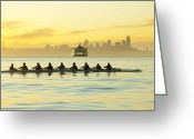 45-49 Years Greeting Cards - Team Rowing Boat In Bay Greeting Card by Pete Saloutos
