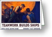 Rivet Greeting Cards - Teamwork Builds Ships Greeting Card by War Is Hell Store