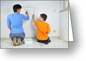Kid Photo Greeting Cards - Teamwork - mother and son painting wall Greeting Card by Matthias Hauser