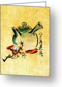 Teapot Greeting Cards - Teapot and Cherry Blossoms 1825 Greeting Card by Padre Art