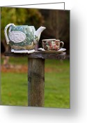 Cup Photo Greeting Cards - Teapot and tea cup on old post Greeting Card by Garry Gay
