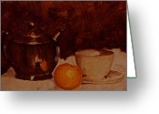 Flower Still Life Prints Greeting Cards - Teapot Greeting Card by Chris  Riley
