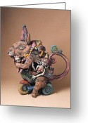 Earthenware Ceramics Greeting Cards - Teapot Rat Greeting Card by Kathleen Raven