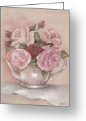 Pastel Roses Greeting Cards - Teapot Roses Greeting Card by Chris Hobel