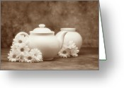 Teacup Greeting Cards - Teapot with Daisies I Greeting Card by Tom Mc Nemar